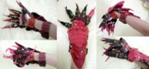 Red Crocodile Scale Gauntlets