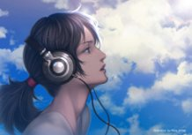 Blue Sky and Headphones