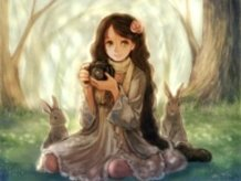 Forest Rabbit and a Camera Girl