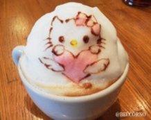 Hello Kitty as 3D Latte Art