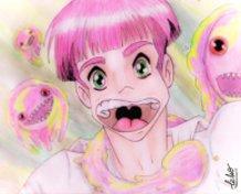 A yaoi boy and jellyfish around.
