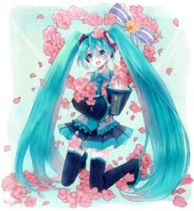 Miku with flowers and birds