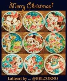 Christmas Ver. Disney Latte Art