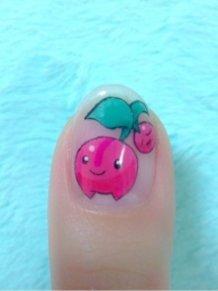 Pokemon Cherubi Nail Art