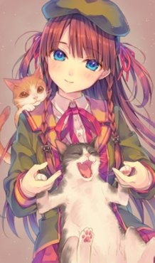 Cats and a Girl