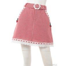 Swankiss Cherry Motif Gingham Skirt