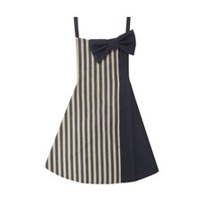 pink trick Prima Ribbon Colorblock Apron - Navy Stripes