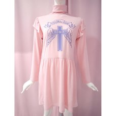 KOKOkim Holy Cross Long-Sleeve Turtleneck Dress