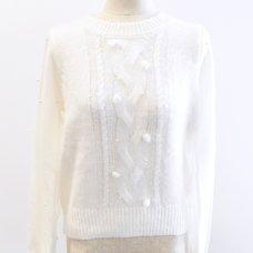 LIZ LISA Pearl Tulle Knit Top