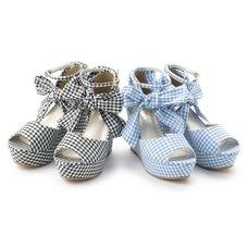 LIZ LISA Gingham Wedge Sandals