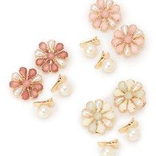 LIZ LISA Pearl & Flower Hair Clips (Set of 4)