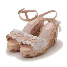 LIZ LISA Frill Lace Wedge Sandals