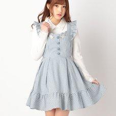 LIZ LISA Gingham Embroidery Pinafore Dress