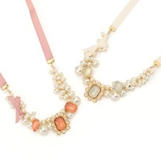 LIZ LISA Jeweled Ribbon Necklace