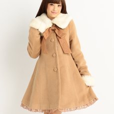 LIZ LISA Elegant Winter Coat w/ Ribbon Brooch