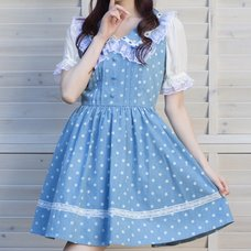 LIZ LISA Polka Dot Large Collar Jumper Skirt