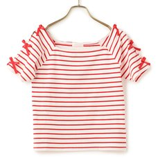LIZ LISA Striped Ribbon T-Shirt