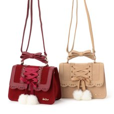 LIZ LISA Laced-Up Pom Pom Bag