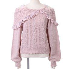 LIZ LISA Off-Shoulder Lace Knit Top
