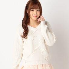 LIZ LISA Ribbon Knit Long Sleeve Shirt