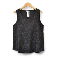 Hatsune Miku Pixel Icon Pattern Black Tank Top