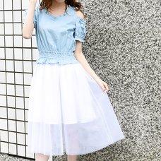 LIZ LISA Off-Shoulder Ribbon Tulle Dress