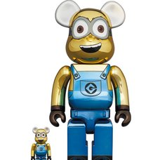 BE@RBRICK Minions Dave: Chrome Ver. 100% & 400% Set