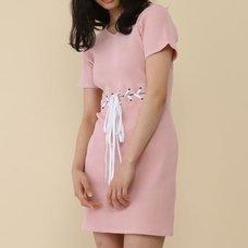 Honey Salon Lace-Up Ribbed Dress