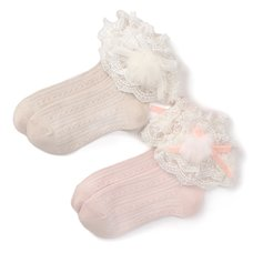 LIZ LISA Lace & Pom Pom Socks