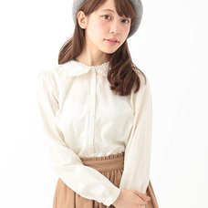 earth music&ecology Flower Laced Ruffle Collar Blouse