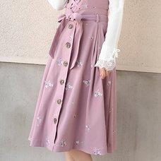 LIZ LISA Embroidered Flower Skirt
