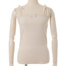 LIZ LISA Shoulder Ribbon Frill Tank Top