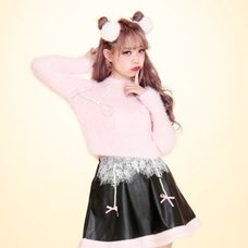 Swankiss Fluffy Ribbon Knit Sweater