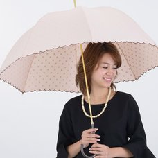 pink trick Polka Dot Scalloped Umbrella (Rain/UV Protective)