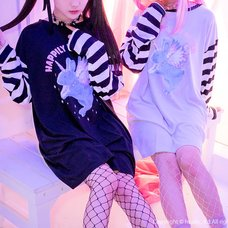 LISTEN FLAVOR Unicorn Rabbit Striped Sleeve Dress