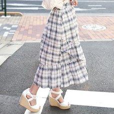 LIZ LISA Checkered Sucre Mid-Length Skirt