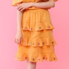 Honey Salon Embroidered Floral Linen Skirt
