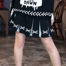 LISTEN FLAVOR Lace-Up Print Two-Tone Pleated Skirt