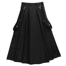 LISTEN FLAVOR Black Cargo Long Skirt