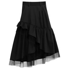 LISTEN FLAVOR Black Ruffle Frilly Skirt