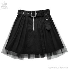 LISTEN FLAVOR Tulle Pleated Mini Skirt w/ Belt