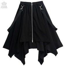 LISTEN FLAVOR Center Zip Hemline Skirt w/ Strap