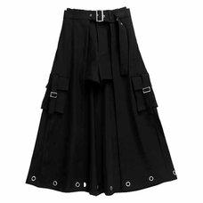 LISTEN FLAVOR Black Layered Eyelet Skirt w/ Shorts