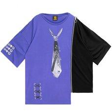 LISTEN FLAVOR Fake Necktie Zip Asymmetrical Top