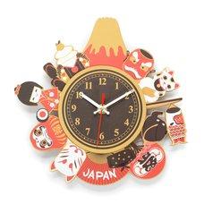 Souvenir Japan 2-Layer Wood Clock