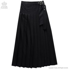 LISTEN FLAVOR Layered Pleated Long Flap Skirt w/ Shorts