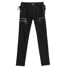 LISTEN FLAVOR Zip Design Side Lace-Up Black Skinny Pants