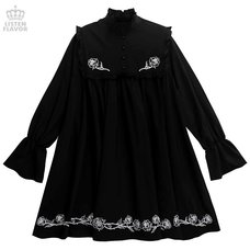 LISTEN FLAVOR Frill Black Rose Gothic Dress