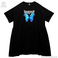 LISTEN FLAVOR Blue Morpho Gathered Dress
