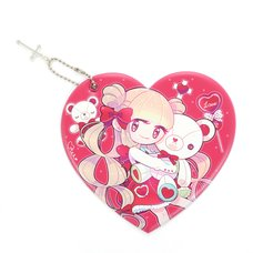 BEMINE Teddy & Girl Heart-Shaped Pass Case